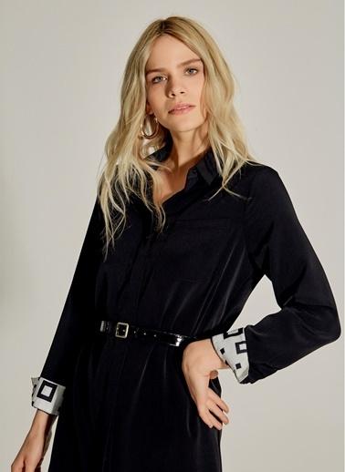NGSTYLE Kemerli Midi Gömlek Elbise Siyah